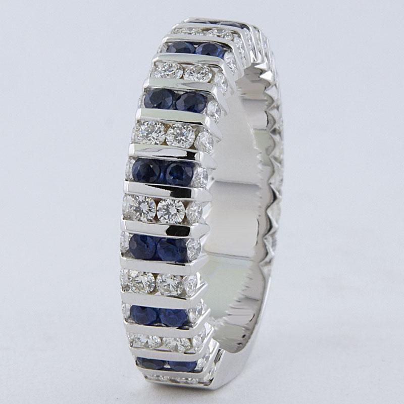 View Channel Set Sapphire And Diamond Wedding Ring, 1.00cts Total Wt.