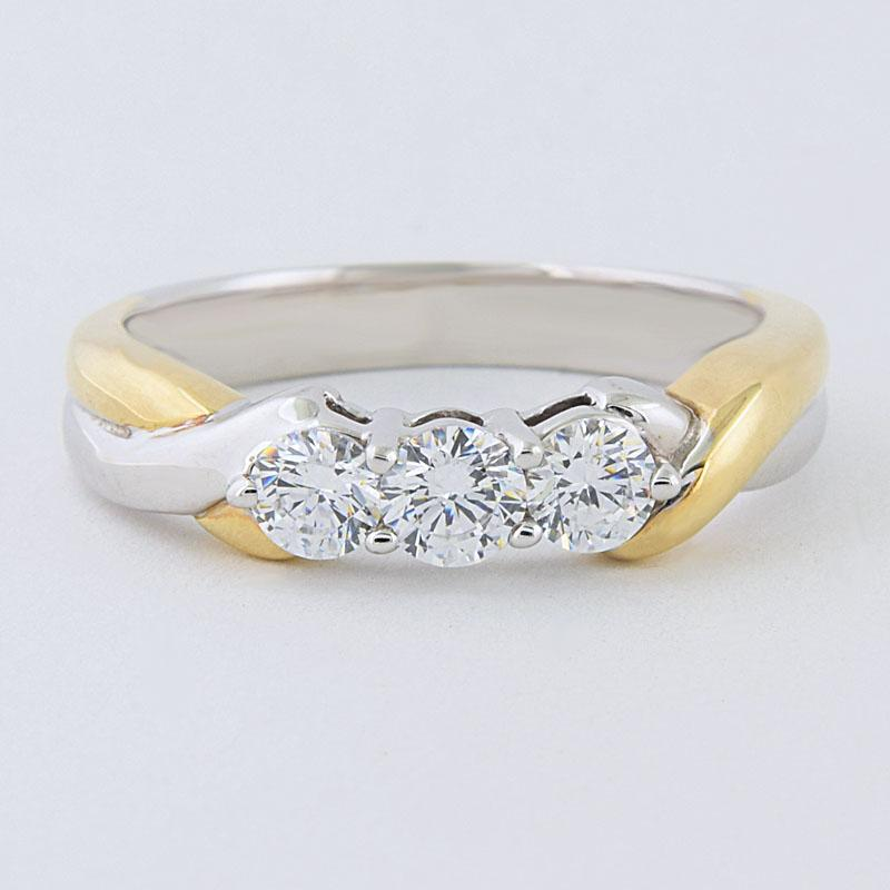 View 14kt Two Tone Anniversary Ring, 0.45cts