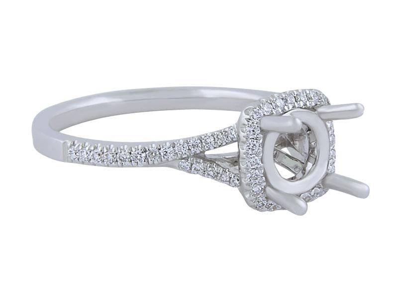 View Mico Pave Halo Diamond Engagement Ring Mounting
