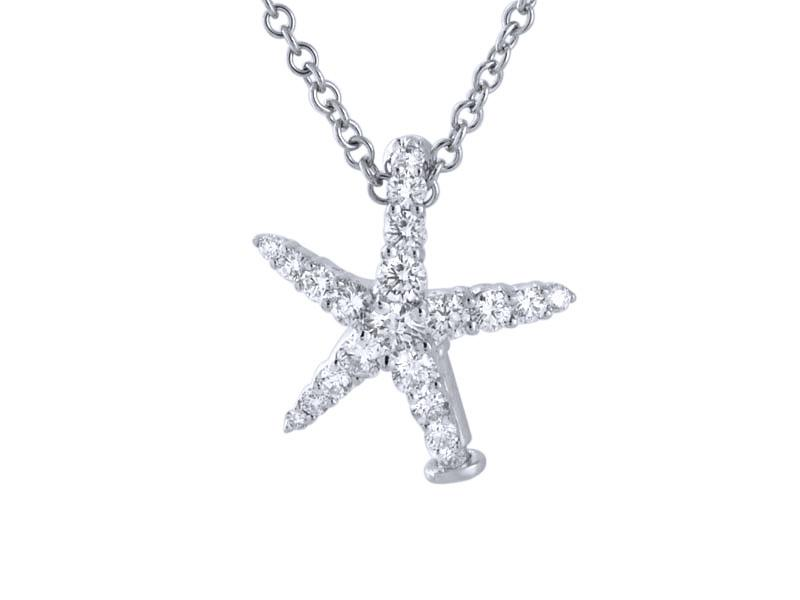 View 18kt Gold Diamond Starfish Pendant
