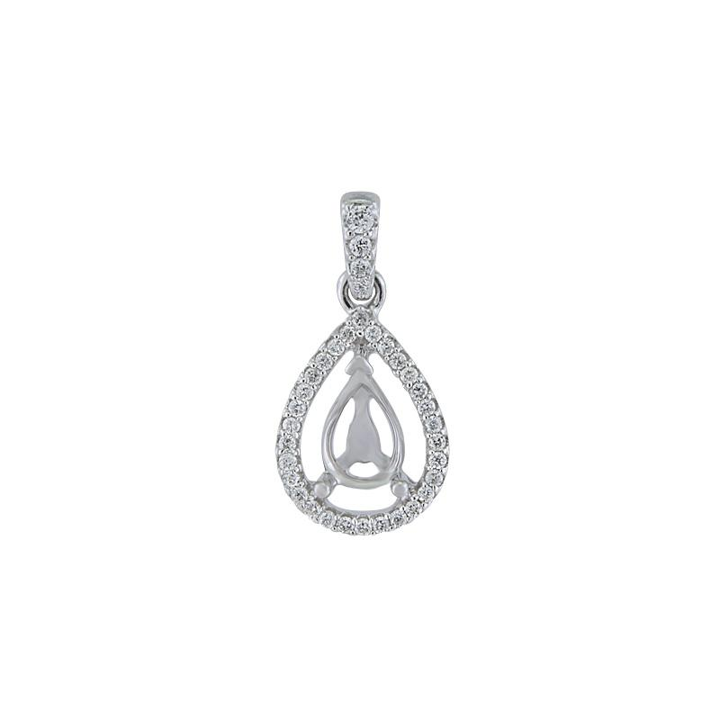 View 14Kt White  Gold<BR>  Diamond Pendant