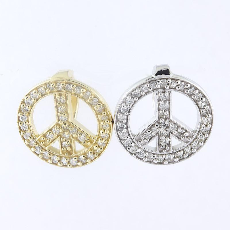 View 14kt Gold Diamond Peace Pendant,0.35cts